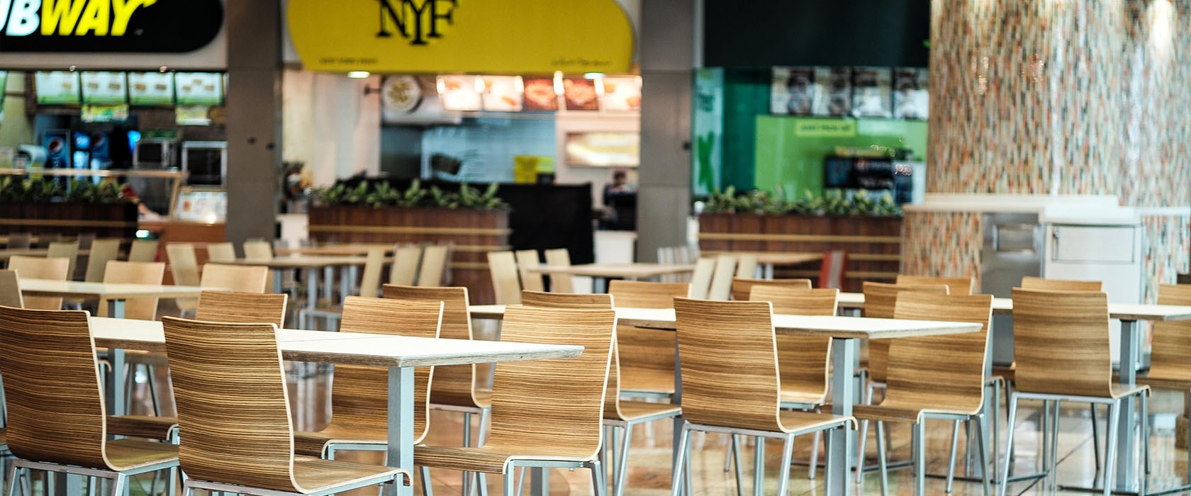 Food courts in de winkelcentra