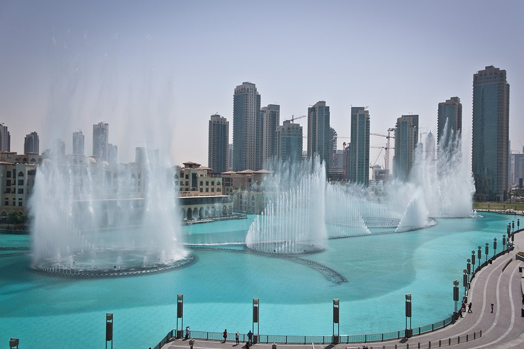 De Dubai Fountain in Dubai