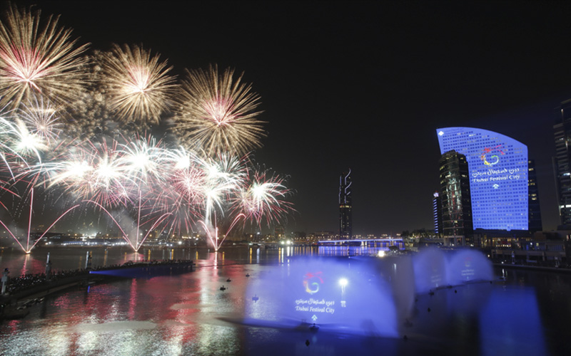 Firework display during New Year's Eve at the Festival City Mall in Dubai