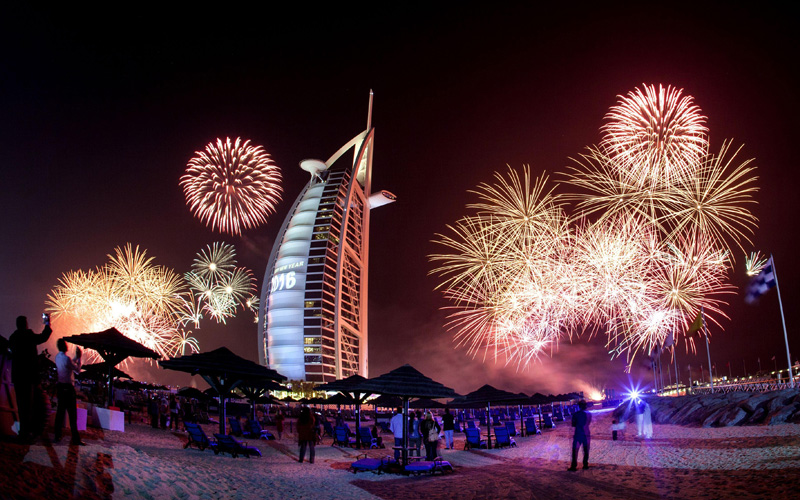 New year's eve at the Burj al Arab hotel in Dubai