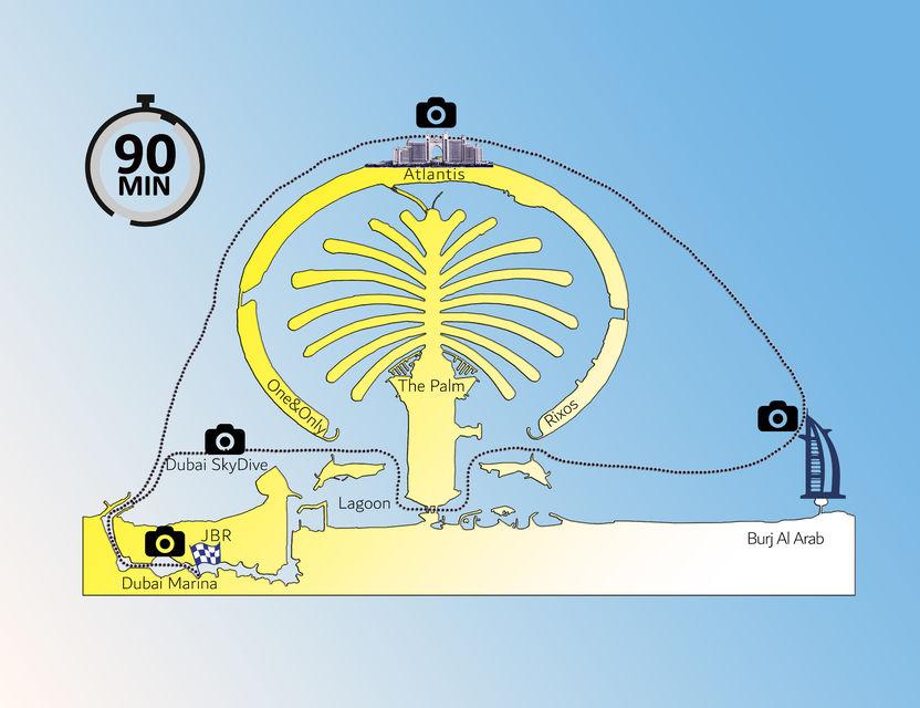 Route van de privé boottocht in Dubai