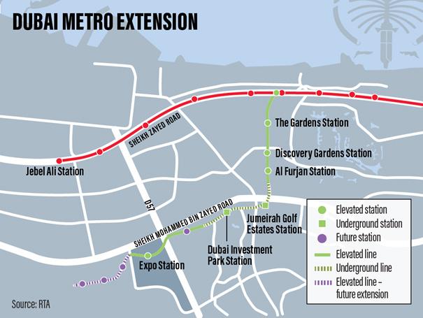 Route 2020 metro uitbreiding van de Dubai Metro